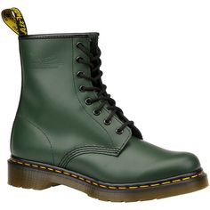 Dr Martens 1460 8 Eye  Women's Green Boot (€105) ❤ liked on Polyvore featuring shoes, boots, zapatos, green, short heel shoes, green shoes, dr. martens, dr martens boots and green boots