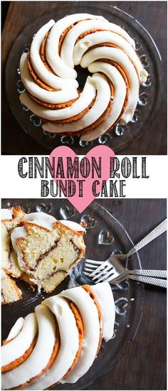Cinnamon Roll Bundt Cake with a thick, vanilla bean-cream cheese frosting