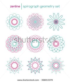 Vector linear spirograph circles, spiral emblems, abstract round design shapes…