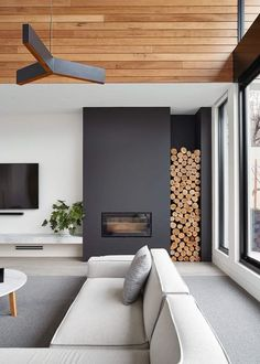 These 15 beautiful modern fireplace designs are so beautiful and yet easy to . - Do it yourself dream house luxury home house rooms bedroom furniture home bathroom home modern homes interior penthouse Modern Houses Interior, Home, Modern House Design, Modern House, Fireplace Design, House Styles, House Interior, Bloomfield Homes, Modern Fireplace