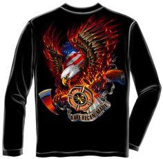 Erazor Bits Manga Longa Águia De Fogo patriótico feito Americano Masculino  Preto T-shirt Firefighter · Firefighter ApparelFirefighter GiftsLong Sleeve  ... dd023d91f