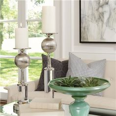 Global Views Decor Fluted Ball Nickel Candlestick