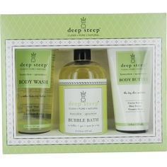 DEEP STEEP by Deep Steep SET- HONEYDEW-SPEARMINT ORGANIC SHEA BUTTER BODY WASH 8 OZ & ORGANIC BUBBLE BATH 17.5 OZ & ORGANIC RICH BODY BUTTER 6 OZ