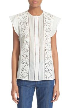 Derek Lam 10 Crosby Ruffle Sleeve Lace Detail Shirt available at #Nordstrom