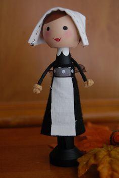 Pilgrim Couple Thanksgiving Clothespin by lollipopsandladybugs