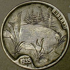 DAVID JONES HOBO NICKEL - 1935 BUFFALO NICKEL Hobo Nickel, David Jones, Buffalo, Coins, Carving, Rooms, Wood Carvings, Sculptures, Printmaking