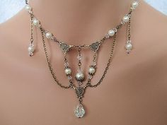 Victorian Bridal Necklace Pearls Crystals Teardrop Edwardian Vintage Downton Abbey Inspired Oxidized Brass Antique Gold Wedding Jewelry