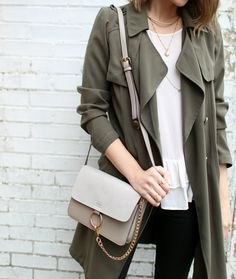 Grey crepe coat, grey crossbody purse. neutrals