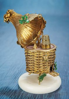 Antique Needlework Tools and Sewing: 290 French Napoleon III Gilt Sewing Necessaire in the Shape of a Beehive