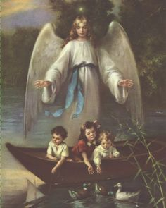 Guardian Angel with Children in Boat 8 x 10 Carded Picture (SFI RPC5004)