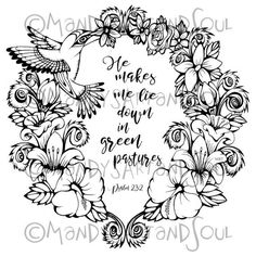 Hummingbird And Flowers Coloring Sheet Hand Drawn