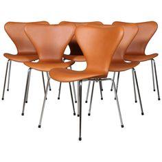 For Sale on - Arne Jacobsen dining chair new upholstered with walnut elegance aniline leather. Base of chrome steel tube. Model 3107 Syveren, made by Fritz Hansen. Arne Jacobsen, Eames, Plywood Furniture, Herman Miller, Chair Design, Furniture Design, Design Design, Fritz Hansen, Dining Chairs For Sale