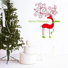Fawn Merry Christmas Wall Stickers Home Decor Waterproof Removable