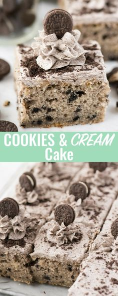 People have not stopped talking about this cookies and cream cake! This 9x13 inch cookies and cream cake is loaded with oreos in the cake and in the buttercream!
