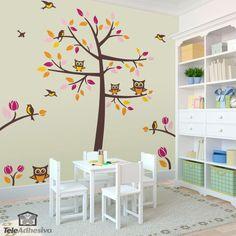 Vinilos Decorativos: Arbol, pájaros y búhos #vinilo #pared #infantil #árbol #decoracion #casa #pájaro #ave #TeleAdhesivo