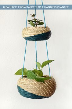 Plant Hacks Your Green Friends Will Love IKEA Hack making a hanging planter out of storage baskets.IKEA Hack making a hanging planter out of storage baskets.