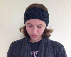 Charcoal Colored Knit Headband Ear Warmer by LibertysBoutique #charcoal #headband #earwarmer #knit #knitting #Etsy #winterwardrobe