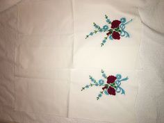Handmade Embroidered Towels Floral Design Needle Point Craft Needle Art Red & White by Kimseverything on Etsy