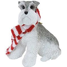 Sandicast Gray Schnauzer with Red and White Scarf Christmas Ornament