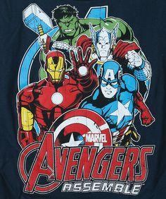Boys Avengers Assemble Tour Navy T-Shirt
