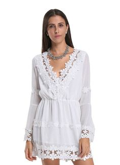 White Cotton Casual V Neck Applique Trims Flare Sleeve Mini Dress