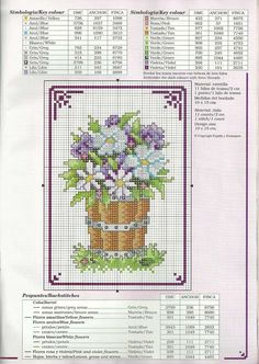 pot of flowers cross stitch