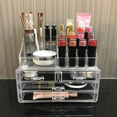 Ikee Design Acrylic Jewelry & Cosmetic Storage Display Boxes Two Pieces Set. Clear Makeup Organizer, Makeup Organization, Closet Organization, Acrylic Organizer, Cosmetic Display, Cosmetic Storage, Makeup Storage Display, Cheap Makeup, Cute Makeup