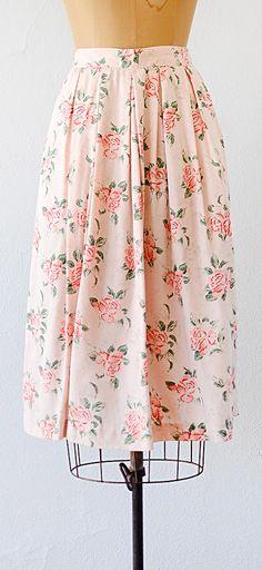 vintage 1980s skirt | rose print skirt