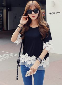 Korean Women Black Lace Patchwork Fitted Short Sleeve T Shirt