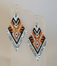 Seed Beaded Silver and Topaz Tribyza Earrings by Calisi on Etsy