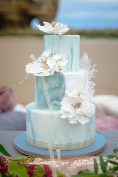 Beach wedding  by Sharon Sadie May Cakes  - http://cakesdecor.com/cakes/255834-beach-wedding