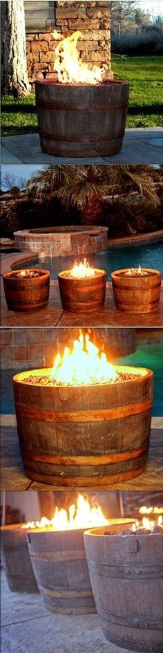 Whiskey Barrel Fire Pit. Could use any barrel and fill it with coals for a cozy fire pit for a lot of people.