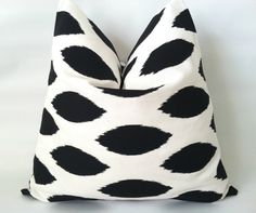 Black & White Pillow Cover. 20 x 20. One. Black Ikat. Black and White Polka Dot. Nautical Pillows. Modern Pillows. Cushion Cover  This listing is for one 20 x 20 pillow cover in black ikat ovals on white fabric.  Fabric: 100% home decorating weight cotton duck  * Professionally Serged Seams * Envelope Closure * Same fabric on back * Machine Washable * Made in smoke-free environment  The fourth picture shows this pillow in a set with a black & white chevron. If you are interested in this set…