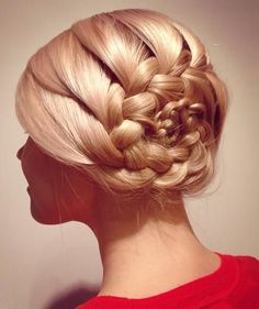 French Braided Flower Updo Hairstyles