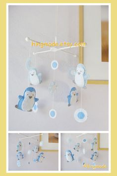 Baby Mobile  Penguin Mobile  Antarctic World Penguins by hingmade, $89.00