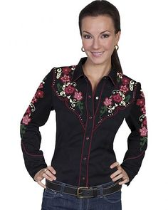ab1b3f883 Scully Women s Floral Embroidered Western Blouse Tejanos Mujer