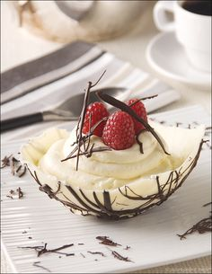 White Chocolate Mousse in Edible Chocolate Bowls