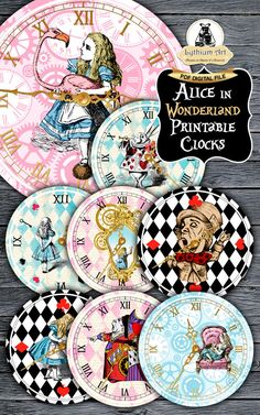 Alice in Wonderland Clocks - Printable Clocks - Vintage Alice - Alice in Wonderland Party - Alice in Wonderland Printable - Alice Decoration by LythiumArt on Etsy https://www.etsy.com/listing/477749412/alice-in-wonderland-clocks-printable