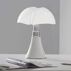 Gae Aulenti: Pipistrello Mini Table Lamp Designed by Gae Aulenti for Martinelli Luce, Italy, 1966.