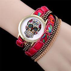 Luxury Sugar Flower Skull Wrist Watch