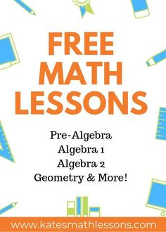 Check out these FREE math lessons with videos practice quizzes and more! Lots of examples with step-by-step explanations for Pre-Algebra Algebra 1 Algebra 2 and Geometry students. Algebra Lessons, Algebra Activities, Math Lesson Plans, Algebra 1, School Lessons, Math Worksheets, Math Resources, Algebra Help, Geometry Worksheets