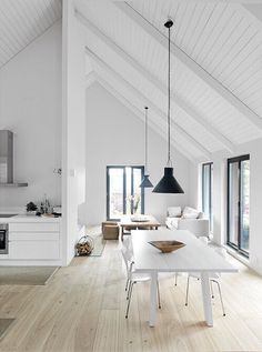gabled ceiling, white, light and bright