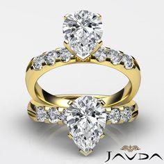 Pear Diamond 6 Stone Delicate Engagement Ring GIA I VS2 14k Yellow Gold 1.31 ct
