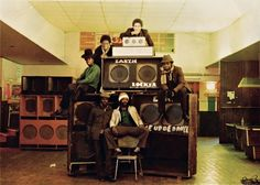 Members of the Earth Rocker sound system, with their speakers. Photograph: Stephen Burke/One Love Books