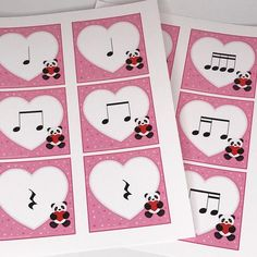 """An adorable printable rhythm activity for your music students. Great for classroom or private lessons, your students will love these cute panda bear rhythm hearts. Each heart is a one beat rhythmic value, including  quarter note quarter rest 2 eighth notes 4 sixteenth notes 1 eighth + 2 sixteenth 2 sixteenth + 1 eighth  Compose and clap rhythms. For some Valentines Day fun, say words like """"heart"""" """"candy"""" """"February"""" and """"Valentine"""" to match the rhythm.  ..."""