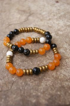 beaded bracelet set orangeblackwhitecopper