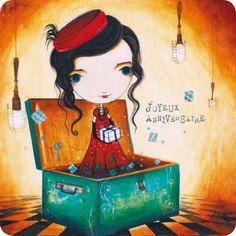 """Jehanne Weyman carte postale carrée (14 cm) """"Joyeux anniversaire"""""""