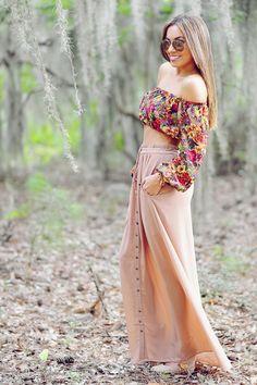 Fading Into Fall Maxi Skirt: Tan