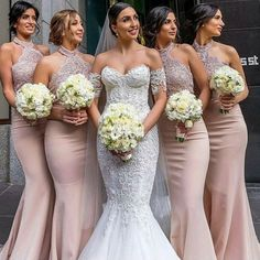 Elegant High Neck Pink Mermaid Bridesmaid Dress Party Dress · modseleystore · Online Store Powered by Storenvy Mermaid Bridesmaid Dresses, Gold Bridesmaids, Lavender Bridesmaid, Junior Bridesmaids, Kelsey Rose, Wedding Party Dresses, Dress Party, Party Gowns, Prom Party