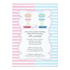Gender Reveal Girl or Boy Baby Shower 5x7 Paper Invitation Card! Make your own invites more personal to celebrate the arrival of a new baby. Just add your photos and words to this great design.